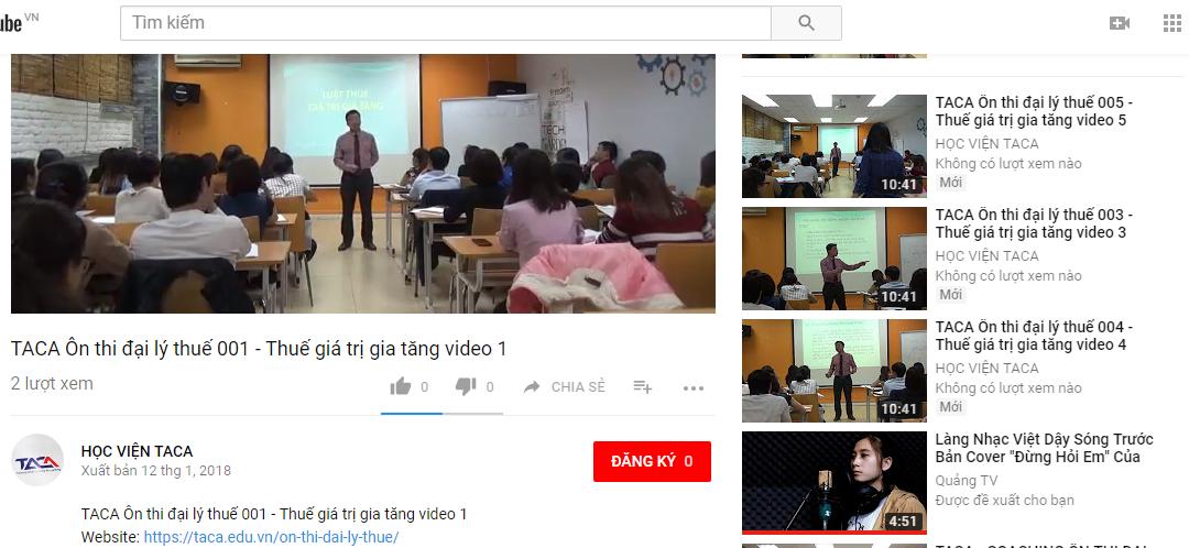 Kênh Download các video học tập tại Học viện TACA