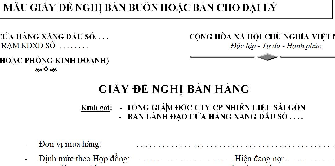 Mẫu giấy đề nghị bán buôn bán cho đại lý