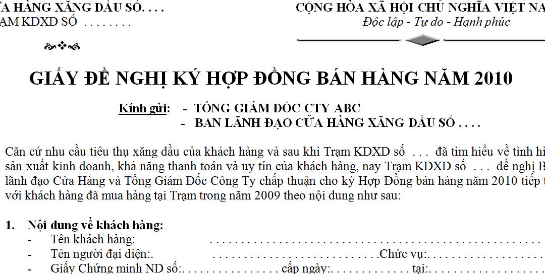 Mẫu giấy đề nghị ký hợp đồng bán hàng