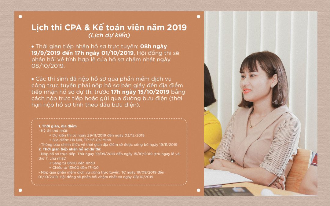 [Thông báo] Lịch thi CPA & Chứng chỉ hành nghề kế toán 2019 – Lịch dự kiến