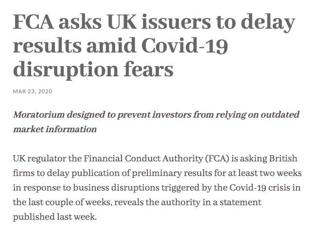 Báo cáo tài chính được kiểm toán – FCA ban hành quyết định cho phép các công ty niêm yết hoãn công bố