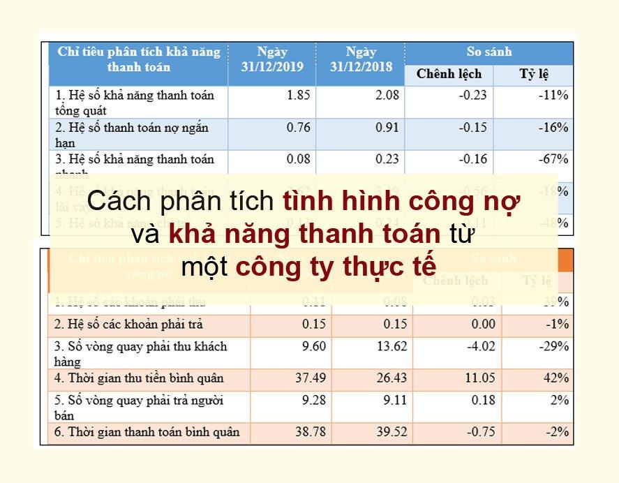 Hướng dẫn chi tiết về phân tích tình hình công nợ và khả năng thanh toán từ một DN thực tế